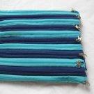 "Alan Stuart New York Zippered Purse bag Royal Navy Blue & Aqua 22 zippers 8x9"""