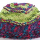 "Colorful Chunky Hand Knit Hat Childs  Beanie Style Cap Size 19"" Round New"