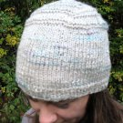 Linen Blend Hand Knit  Hat from Italian yarn Natural color w/ blue & lavender