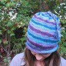 Wool Blend Purple Blue Striped Women's Cap Hat Hand Knit Roll Brim Beanie