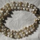 Vintage 3 Strand Beaded Necklace White Cream Gold Plastic  Hong Kong Choker Bib