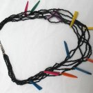 "Black Seed Bead Multi Strand Necklace 24"" Silver Tone 6 strands colorful accents"