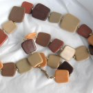 "Brown Tan Flat Square Plastic Bead Necklace  25""  with Gold tone spacer beads"