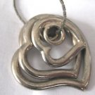 3 Heart Cluster Heart Necklace Silver Tone Graduate Sizes Curvy Hearts  30