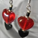Red Glass Hematite HEART EARRINGS 925 Sterling Pierced  Hand Made Everyday Glitz