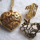 "Vintage Gold Tone Cut Out ""MOM"" Pendant Necklace &  #1 Mom Lapel Pin & Heart Pin"