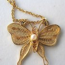 Goldtone Filigree Butterfly with faux pearl Necklace Pendant