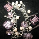 "Pink Foiled Glass Square Beads faux pearls Silver-tone Clasp 8.5"" Bracelet Charm"