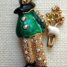 Vintage CLown Pin with Flowers Enamel Rhinestone Pants Green Goldtone  Brooch