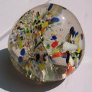 Vintage Glass Round Globe Paperweight Red Yellow White Flowers Clear Cracked