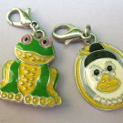 Frog & Mother Goose Charms Signed W ?  SIlver tone with enamel