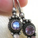 Purple Amethyst CZ Oval 925 Sterling Silver Dangle Hook Earrings Hand crafted