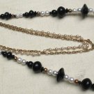 "Vintage 2 necklaces Black Faux Pearl Gold tone Beaded Necklaces 30"" & 24"" Multi"