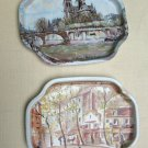2 Vintage Elite Metal Trays Made In England - Paris France Scenes Look!