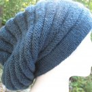 Slouch Hipster Hat Cap Acrylic Winter Blue Soft Ridges Rasta Unisex Hand Knit