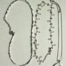 """3 Silvertone 16"""" Necklaces Open Circle Pendant silvertone beads loopy curved bar"""