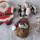 Lot Of 4 Vintage Christmas Pins Brooches Santa Angel Skating Penguins Bear Mixed