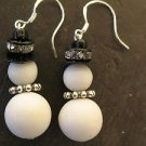 Snowman Earrings Handmade Beaded Christmas Holiday Fashion Sterling 925 Pierced