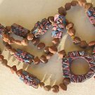 Artisan Hand Made Clay Pottery Red Beads Necklace Boho Unique Heavy Large