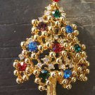 Vintage EISENBERG Colorful Rhinestone Christmas Tree Pin Brooch - MINT!