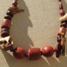 "26"" Wooden Jungle Safari Necklace Chain Wood Beads Giraffe Elephant Carving Boho"