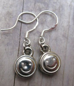 Pierced Earrings Small Smiley Faces Sterling French Hooks Hand Crafted