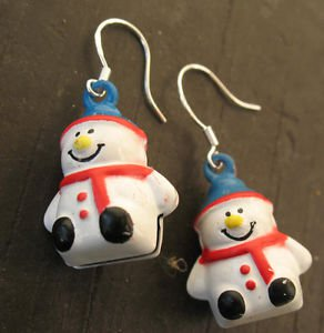 Snowman Earrings Handmade Jingle Bells Christmas Holiday 925 Sterling Pierced