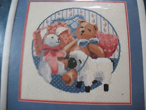 Sunset Favorite Old Toys Animals 1990 Dimensions Needlepoint Kit 14x14 NEW 12056