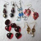 Lot of 5 Pairs of Valentine's Day & Heart Pierced Earrings Artisan Rhinestone