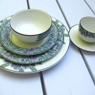 DANSK EDEN 6 Piece Place Setting PURPLE GREEN Dinner Salad Plate Bowl Cup Saucer