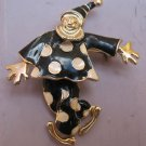 Abruzzi Italiano Black & White Enamel Clown Articulated Brooch Pin Pendant Moves
