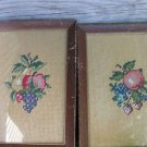 Set Vintage Framed Needlepoint Picture Fruit Apple Strawberries Blueberries 8x10