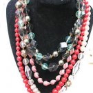 "Lot Of 4 Necklaces Beads Faux Pearls Red Green West Germany White Clear  16""-24"""