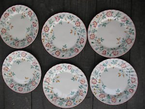 "Churchill Briar Rose Dinner Plates 10"" Set Of 6 Staffordshire Microwave Dishwash"