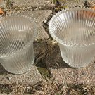 Vintage Glass Light Shades Sconces Ceiling Fan Clear Ribbed Design Set of 2