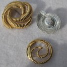 3 Circle Round Brooch Pins Trifari Monet W Germ Gold Tone Swirled Ribbed Scarf