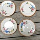 Vintage 4 Hand painted Dessert Plates Hirschaurer Germany Deer Mark Flowers 514