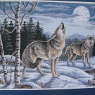 Dimensions Wild Call in Winter Wolf Full Moon Snow Adams Cross Stitch Kit 7938