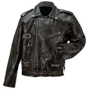 Leather jacket genuine buffalo christian patches on leather jacket.Check us out.