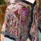 Oblong Beaded Rose Design Velvet Poncho with Hanging Crochet Fringe