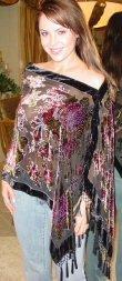 Oblong Beaded Rose Design Velvet Poncho with Hanging Crochet Fringe