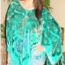 Beaded Peacock Design Velvet Poncho with Hanging Crochet Fringe