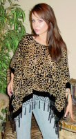 Leopard Design Velvet Poncho with Hanging Crochet Fringe