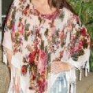 Burnout Velvet English Rose Design Poncho with Hanging Crochet Fringe