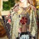 Four Peacock Design Velvet Poncho with Hanging Crochet Fringe