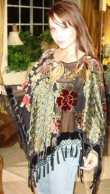 Four Peacock Design Velvet Poncho with Hanging Crochet Fringe
