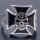 925 SILVER LUCKY 13 SKULL CROSS BIKER RING SZ N to Z3