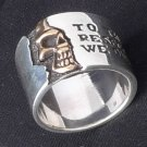 925 SILVER MAGIC SKULL BIKER CHOPPER RING SZ N to Z3