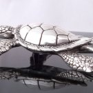 LARGE 925 SILVER AQUAMARINE SEA TURTLE LADIES PENDANT
