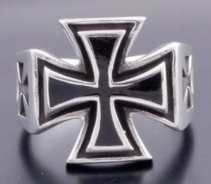 925 SILVER MALESE IRON CROSS KING BIKER RING SZ N to Z3